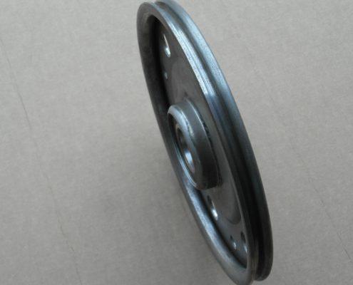 Puleggia di rinvio spessore 4 mm. Vista gola per fune diametro 9.